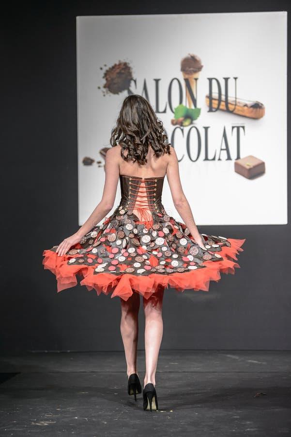 De chocolade toont Salon du chocolat stock fotografie