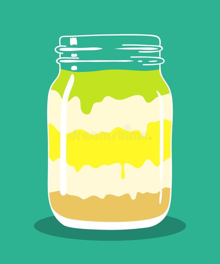 De chocolade van de citroenkalk en room gelaagd dessert in metselaarkruik Vector hand getrokken illustratie stock illustratie