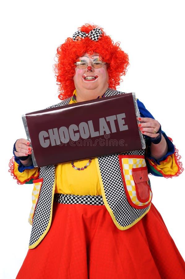 De Chocolade van de Holding van de clown royalty-vrije stock foto