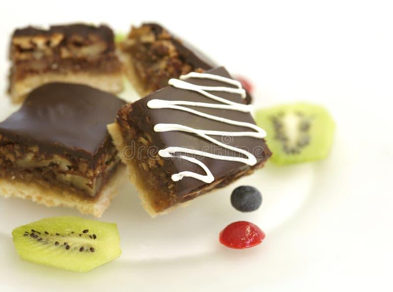 De chocolade van de okkernoot brownies royalty-vrije stock fotografie