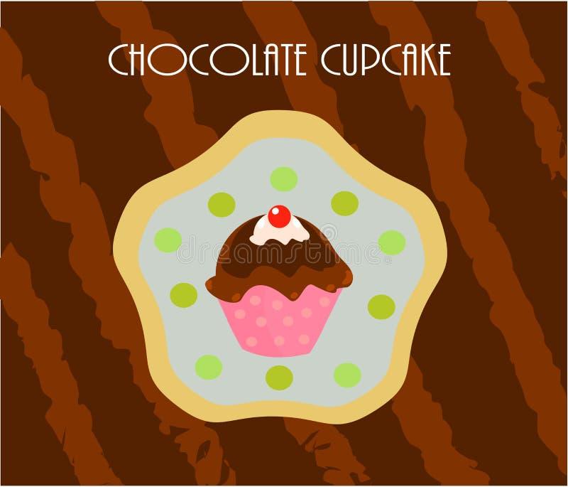 De chocoladekaart van Cupcake royalty-vrije illustratie