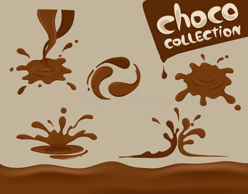 De chocoladeplons, vastgestelde, vector, duidelijke achtergrond, smelting stock illustratie