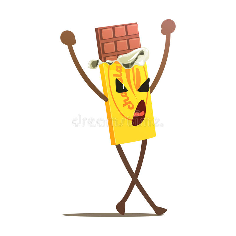 De chocoladereep vouwde half Street Fighter, Snel Voedsel Slecht Guy Cartoon Character Fighting Illustration open vector illustratie