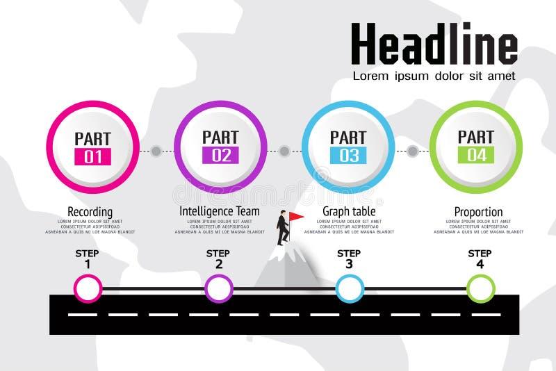 De chronologie van Infographicsbusiness van de organisatiegrafiek, organisatie royalty-vrije illustratie