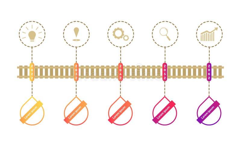 De de chronologieelementen van de treinwegenkaart met markpointgrafiek denken het doelpictogrammen van het onderzoekstoestel Vect royalty-vrije illustratie