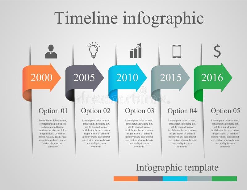 De chronologiemalplaatje van de Infographicspijl royalty-vrije illustratie