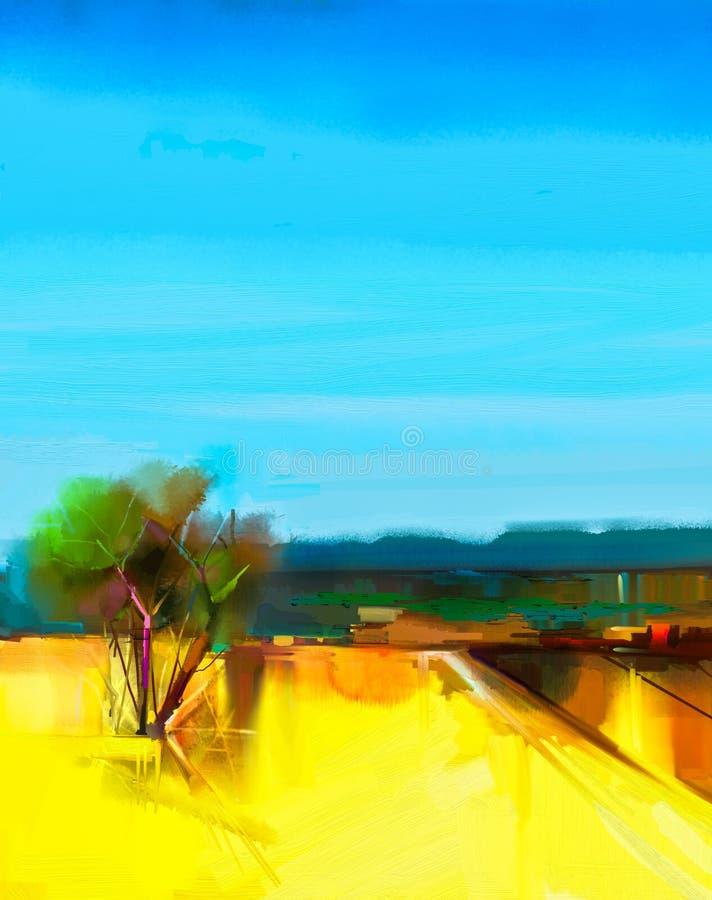 De ciel jaune d'abrégé sur peinture à l'huile paysage coloré et bleu photo stock