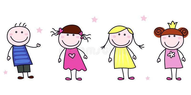 De cijfers van de stok - de karakters van krabbelkinderen stock illustratie