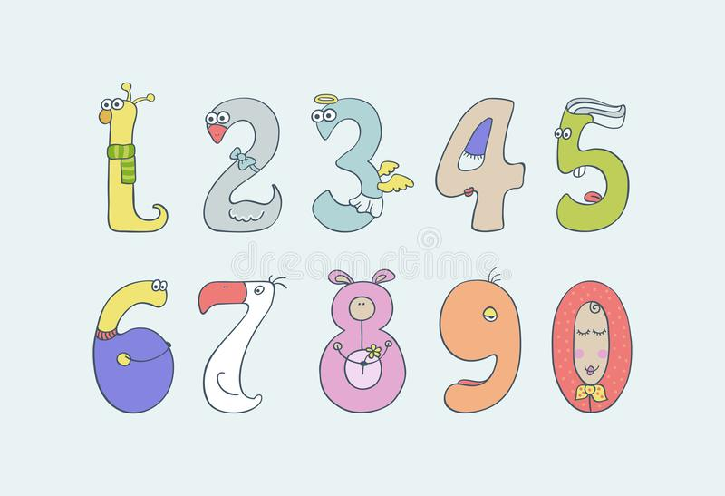 De cijfers van leuke en pretkinderen ` s stock illustratie