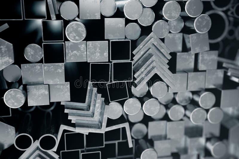 De cilindrische profielen van het metaalstaal, de hexagonale profielen van het metaalstaal, de vierkante profielen van het metaal vector illustratie