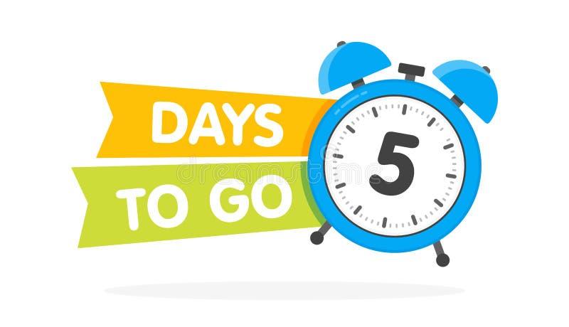 De cinco días para ir etiqueta, plano azul del despertador con la cinta, icono de la promoción, el mejor illustretion del vector  libre illustration