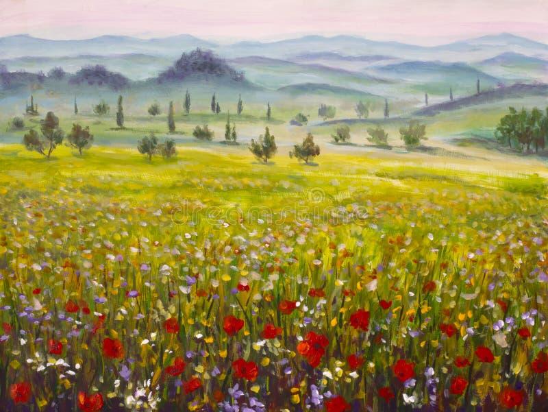De cipressenlandschap van kunstwerk Italiaans Toscanië met bergen, bloemengebied het schilderen op canvas royalty-vrije stock afbeeldingen