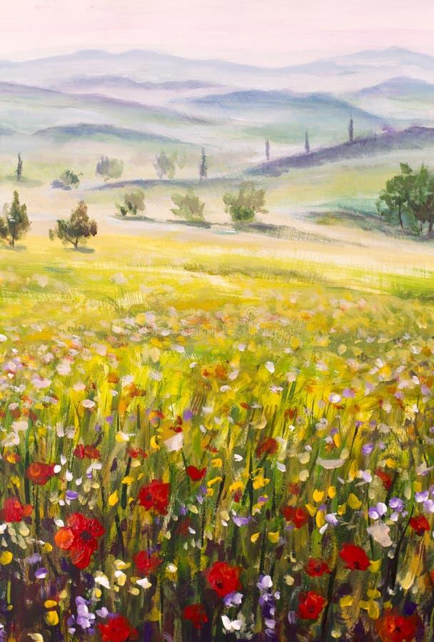 De cipressenlandschap van kunstwerk Italiaans Toscanië met bergen, bloemengebied het schilderen op canvas stock afbeelding
