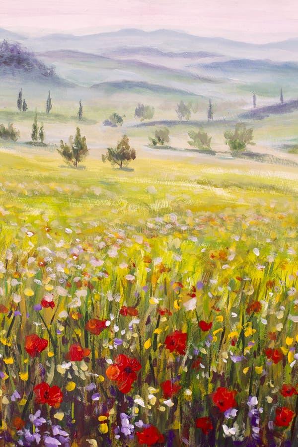 De cipressenlandschap van kunstwerk Italiaans Toscanië met bergen, bloemengebied het schilderen op canvas stock afbeeldingen