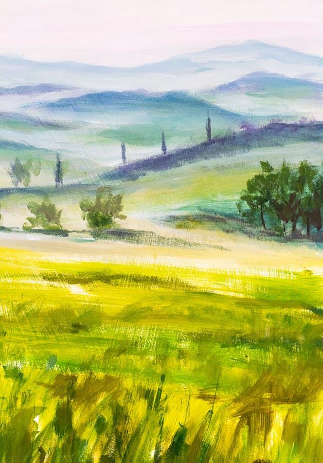 De cipressenlandschap van kunstwerk Italiaans Toscanië met bergen, bloemengebied het schilderen op canvas vector illustratie