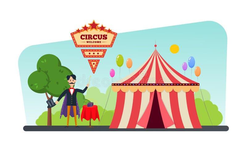 De circusbouw, tent, shapito De uitnodiging voor gebeurtenis, tovenaar toont trucs stock illustratie