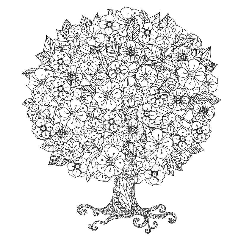 De cirkel oriënteert bloemen zwart-wit vector illustratie