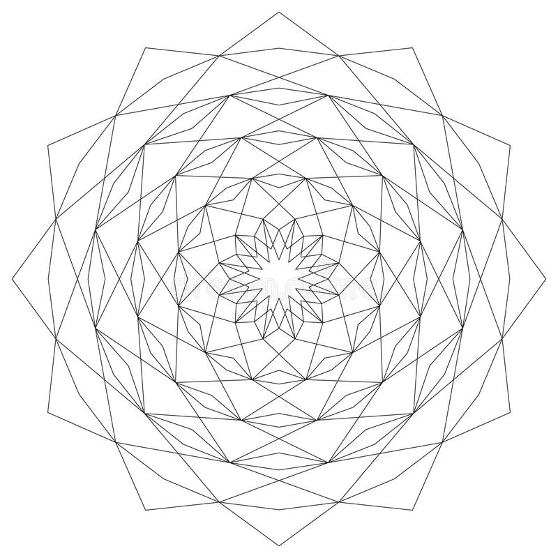 De cirkel stervormige geometrische zwart-witte ster van patroonmandala - mysticusachtergrond vector illustratie