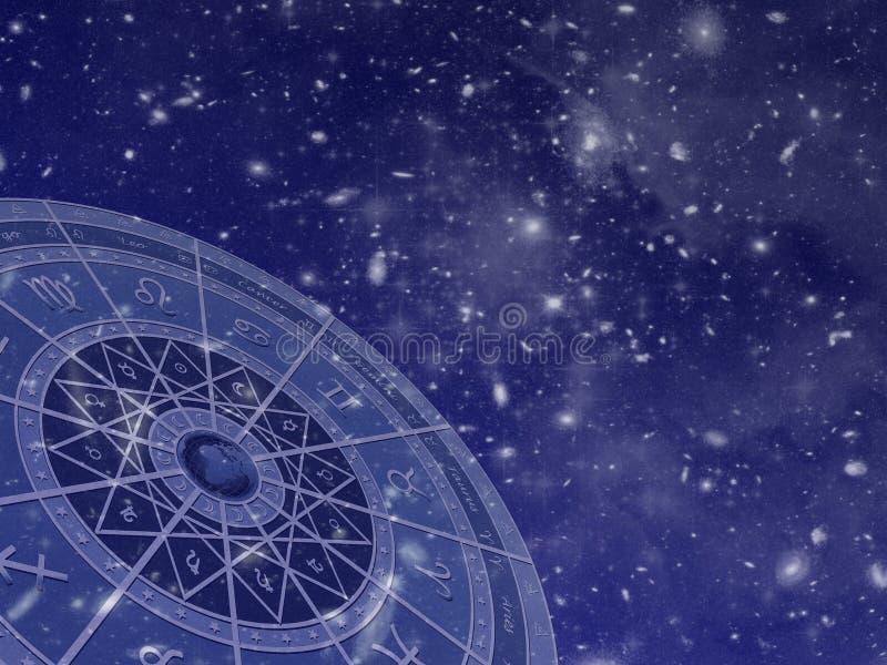 De cirkel van de dierenriem op stergebied royalty-vrije stock afbeeldingen