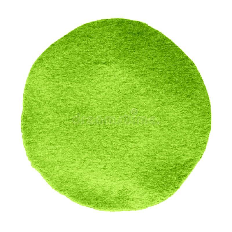 De cirkel van de groene, klaverwaterverf Watercolourvlek op witte achtergrond royalty-vrije stock afbeelding