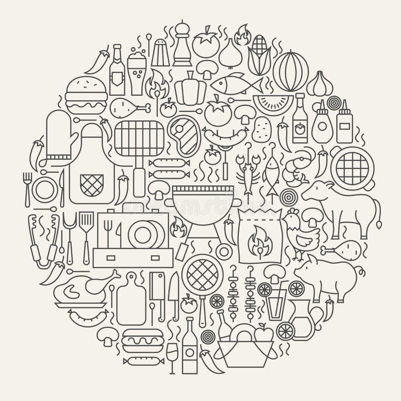 De Cirkel van de Lijnpictogrammen van de barbecuepartij royalty-vrije illustratie