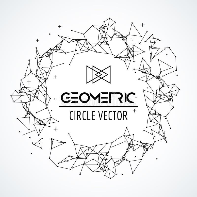 De cirkel van het Wireframenetwerk, gebroken veelhoekig gebied met verbonden lijnen en punten Het concept van de aansluting Digit stock illustratie
