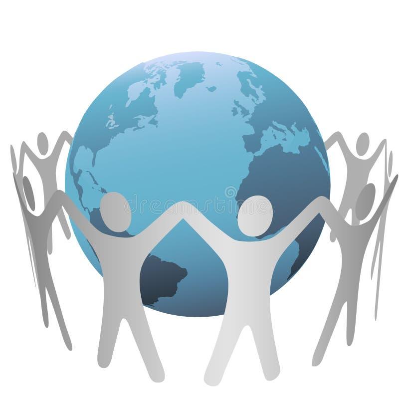 De Cirkel van mensen verzamelt zich rond de Aarde vector illustratie