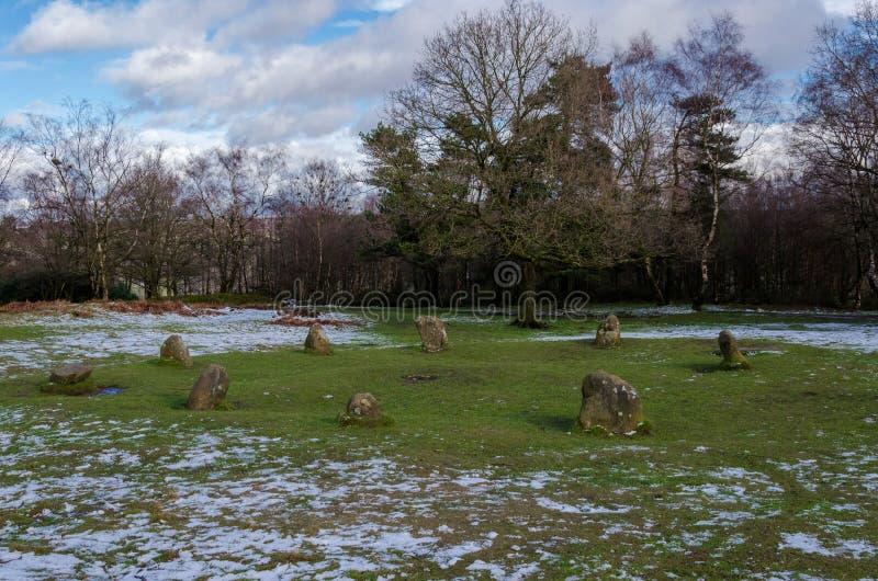 De Cirkel van negen Damesstome op Stanton Moor royalty-vrije stock afbeelding