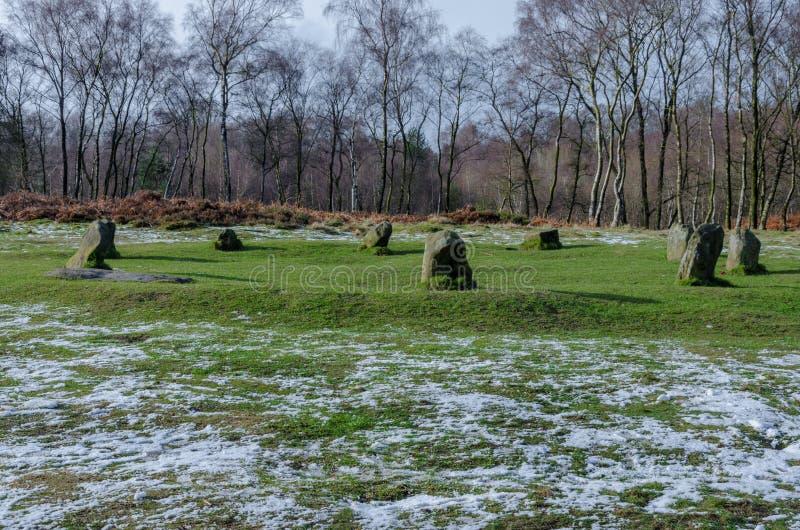 De Cirkel van negen Damesstome op Stanton Moor stock foto's