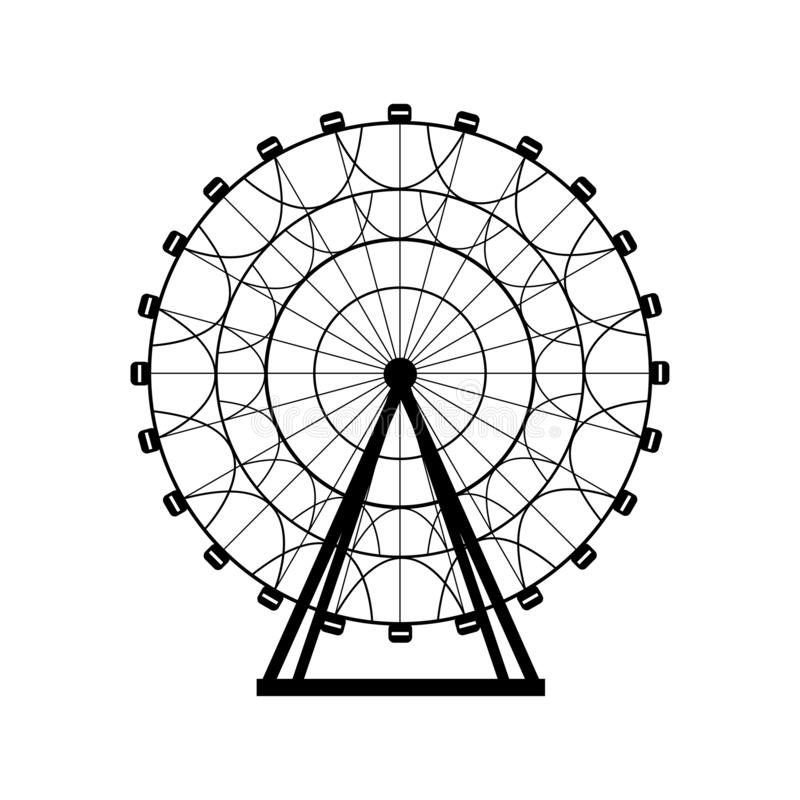 De cirkel vectorillustratie van het reuzenradsilhouet Carnaval Funfairachtergrond Carrousel, motie royalty-vrije illustratie