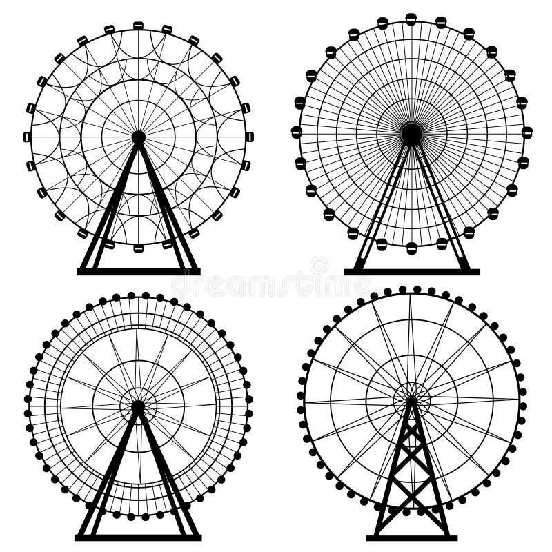 De cirkel vectorillustratie van het reuzenradsilhouet Carnaval Funfairachtergrond Carrousel, motie stock illustratie
