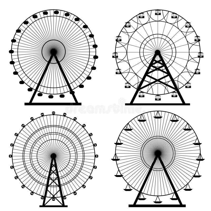 De cirkel vectorillustratie van het reuzenradsilhouet Carnaval Funfairachtergrond Carrousel, motie vector illustratie