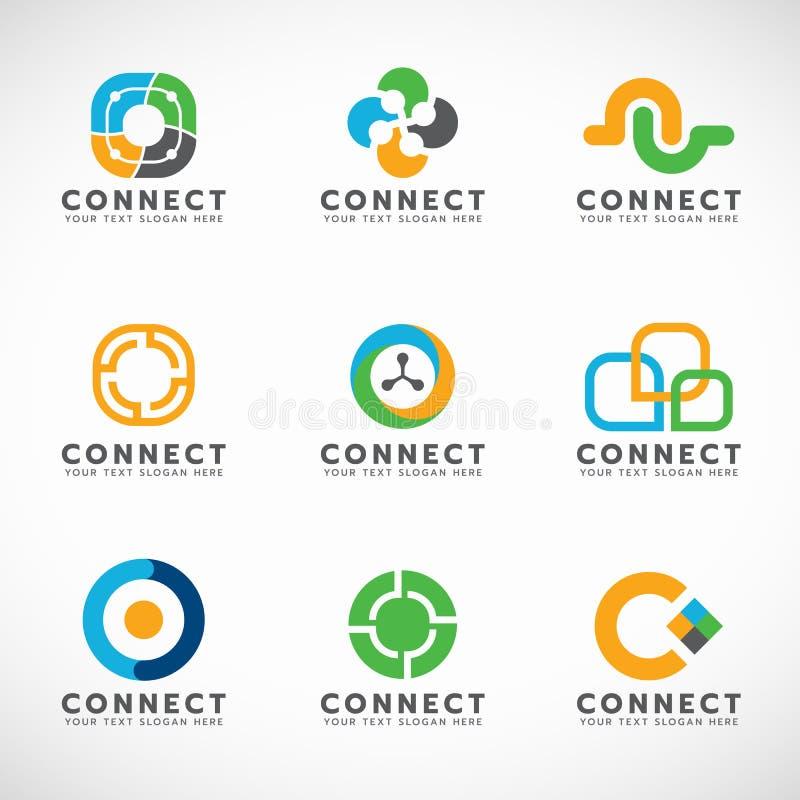 De cirkel verbindt embleem voor bedrijfs vector vastgesteld ontwerp royalty-vrije illustratie