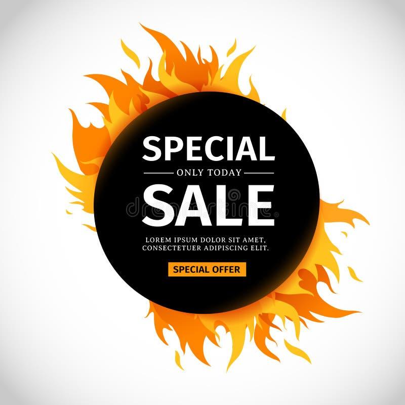 De cirkelbanner van het malplaatjeontwerp met Speciale verkoop Zwarte ronde kaart voor hete aanbieding met grafische kaderbrand r vector illustratie