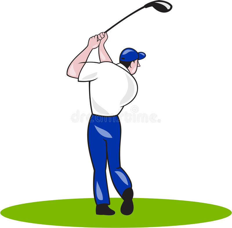 De Cirkelbeeldverhaal van de golfspeler Slingerend Club vector illustratie