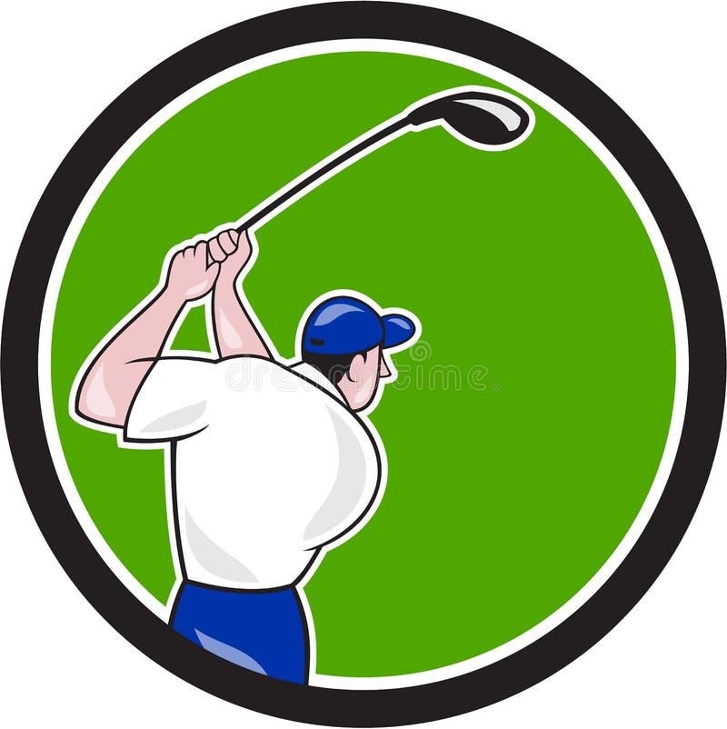 De Cirkelbeeldverhaal van de golfspeler Slingerend Club stock illustratie