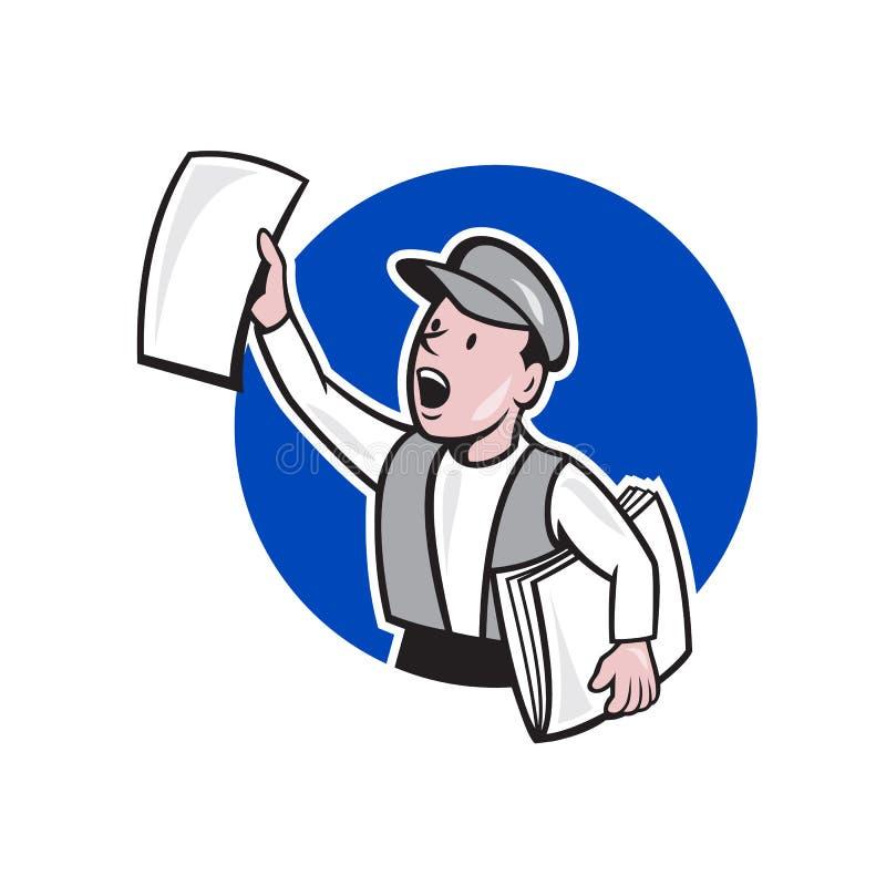 De Cirkelbeeldverhaal van de krantenverkoper Verkopend Krant vector illustratie