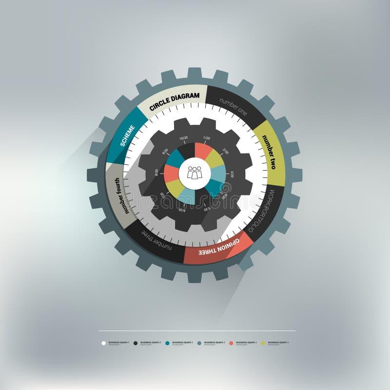 De cirkeldiagram van het radertjewiel voor grafische informatie royalty-vrije illustratie