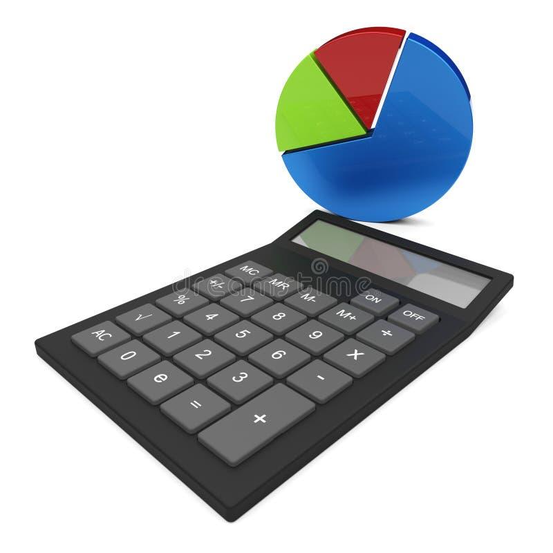 De Cirkeldiagramberekening toont Financieel verslag en berekent stock illustratie