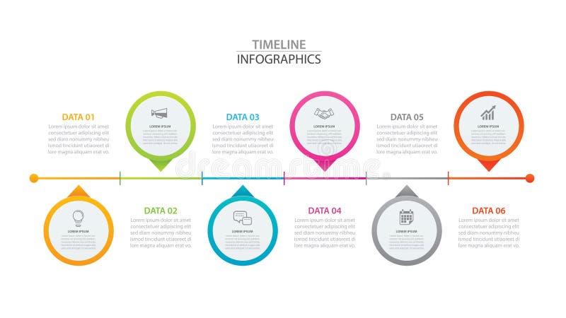 De cirkeldocument van de Infographicschronologie met 6 gegevens horizontaal malplaatje Vectorillustratie Abstracte achtergrond ka vector illustratie