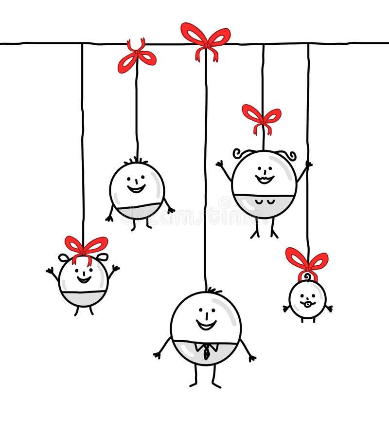 De cirkelfamilie van Kerstmis vector illustratie