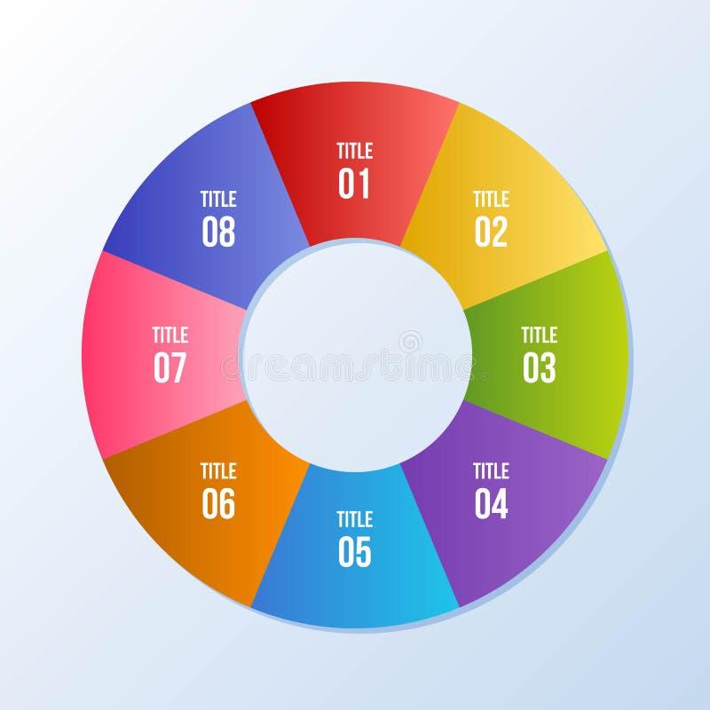 De cirkelgrafiek, omcirkelt infographic of Cirkeldiagram vector illustratie
