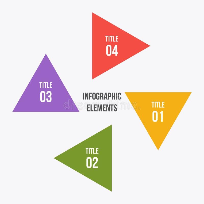 De cirkelgrafiek, omcirkelt infographic met driehoeksvorm vector illustratie