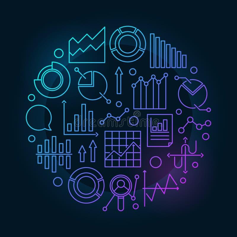 De cirkelillustratie van gegevensanalytics stock illustratie