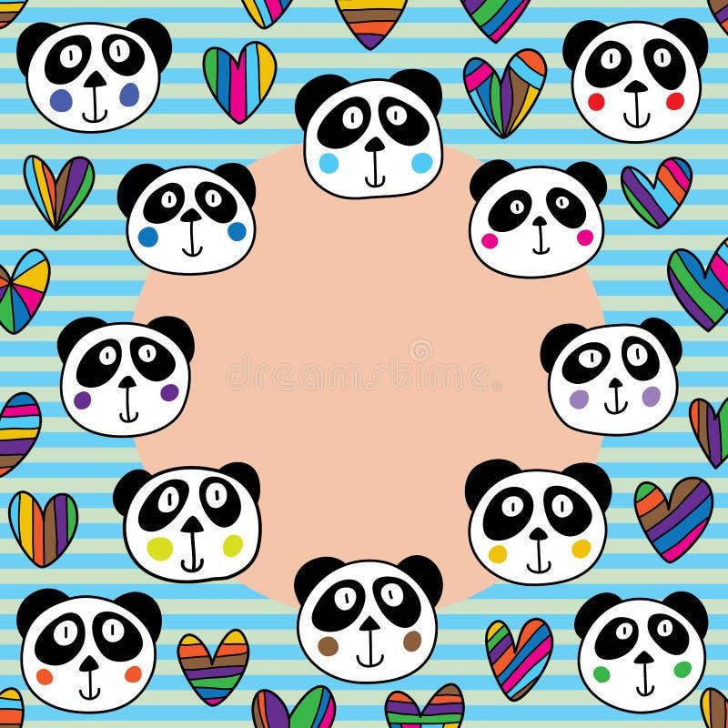 De cirkelkader van de panda hoofdliefde stock illustratie