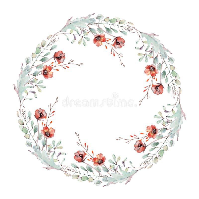 De cirkelkader van de waterverfherfst vector illustratie