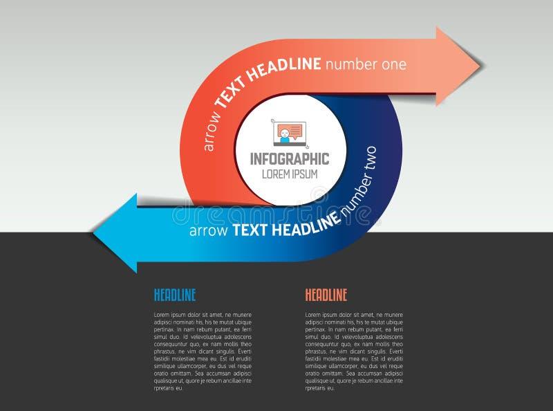 De cirkelmalplaatje van de Infographicpijl, diagram, grafiek met tekstgebieden vector illustratie
