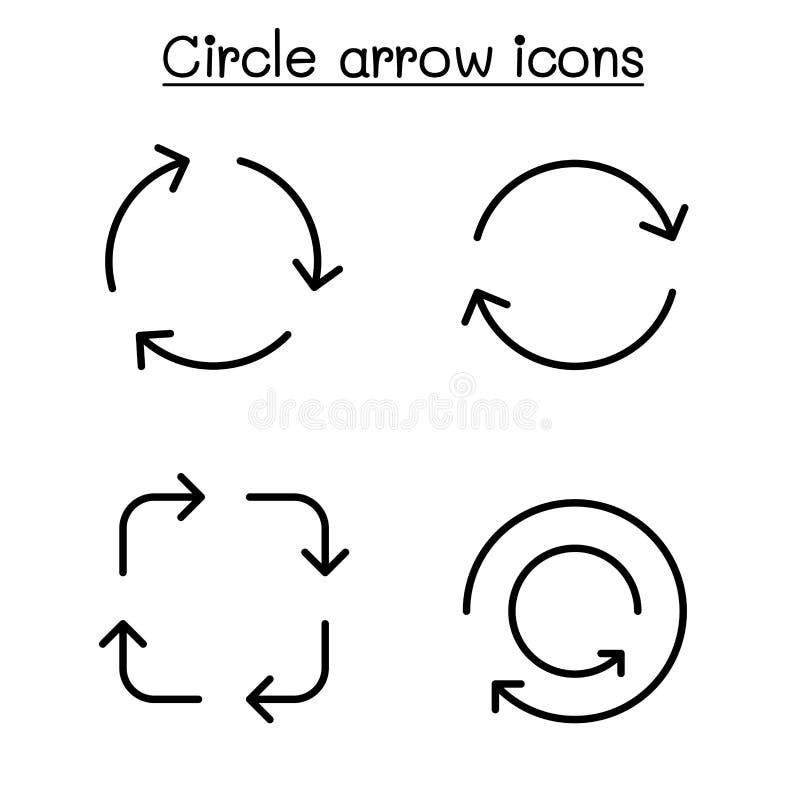 De cirkelpijl, lijn, omwenteling, proces, verfrist, recycleert grafische ontwerp van de pictogram het vastgestelde vectorillustra stock illustratie