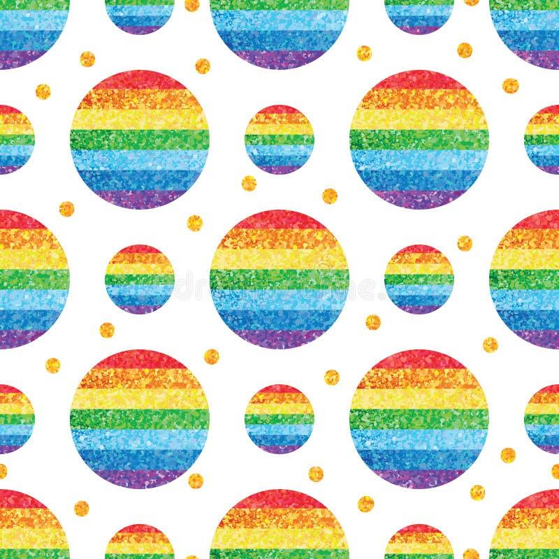 De cirkelregenboog schittert symmetriegoud schittert decor naadloos patroon royalty-vrije illustratie
