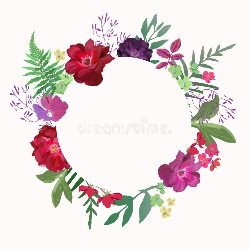 De cirkelrozen van het bloemenkader Kaart op witte achtergrond Hand getrokken F vector illustratie